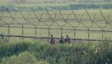 Südkoreanische Soldaten patrouillieren an der Grenze zu Nordkorea