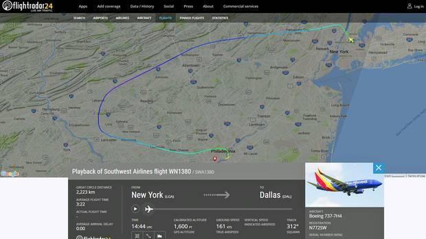 Die Flugroute des Boeing 737-700 von Southwest Airlines: Die in New York gestartete Maschine machte eine Notlandung in Philadelphia.