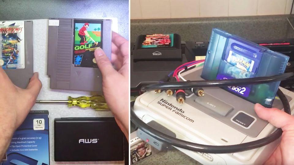 Verschiedene alte Nintendo-Spiele