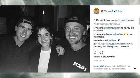 """#hogwartsalumni: """"Harry Potter""""-Reunion: Erkennt ihr, wer hier neben Emma Watson posiert?"""