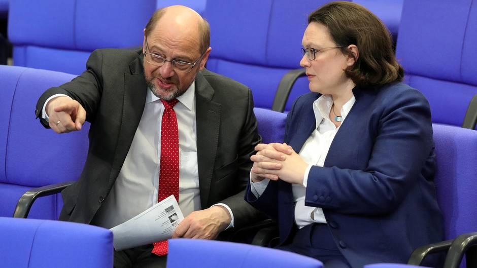 Martin Schulz (l.) und SPD-Fraktionsvorsitzende Andrea Nahles
