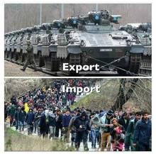 2. 3. 2018, 17.24 Uhr: eines der Bilder, die Menschen auf der Flucht zeigen. Ihre Masse soll abschrecken. Zu Rüstungsexporten hat die AfD sich bisher eher nicht geäußert