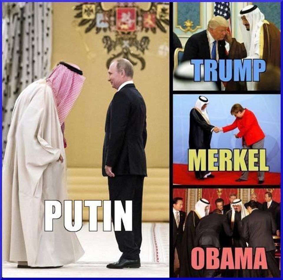19. 3. 2018, 12.13 Uhr: Russlands Präsident wird im Chat immer wieder verehrt oder verteidigt. Hier sollen Fotos belegen, dass nur Wladimir Putin vor Arabern aufrecht steht