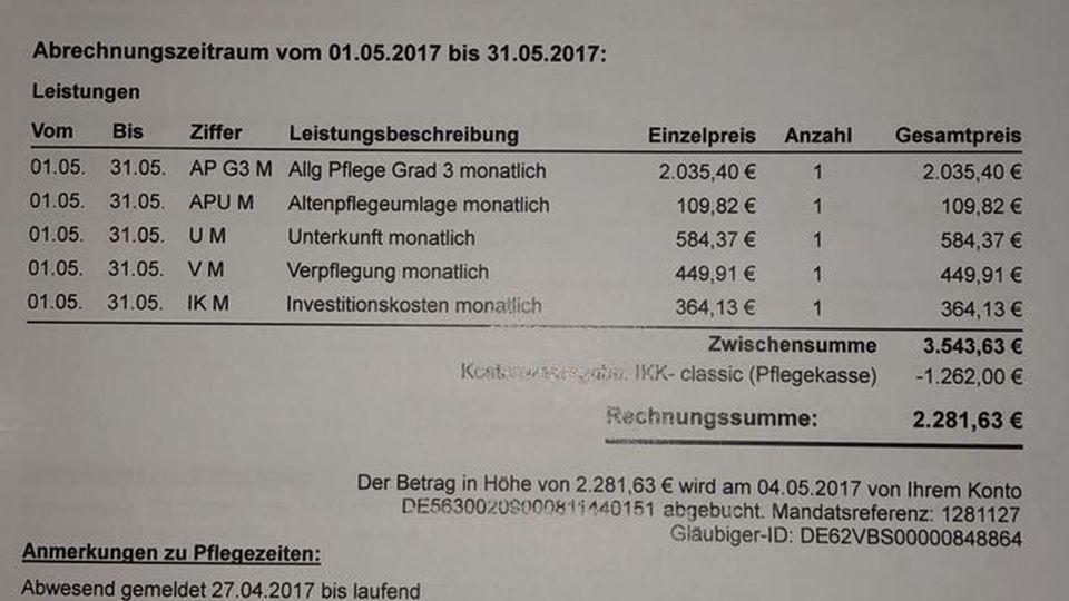 15. 3. 2018, 19.07 Uhr: Ein Mitglied stellt die Rechnung eines Pflegeheims für seine Mutter in den Chat. Es zahlte für einen Monat rund 2300 Euro. Mitgefühl kommt auf