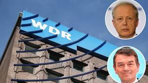 WDR-Hauptgebäude in Köln mit Portraits von Intendant Tom Buhrow