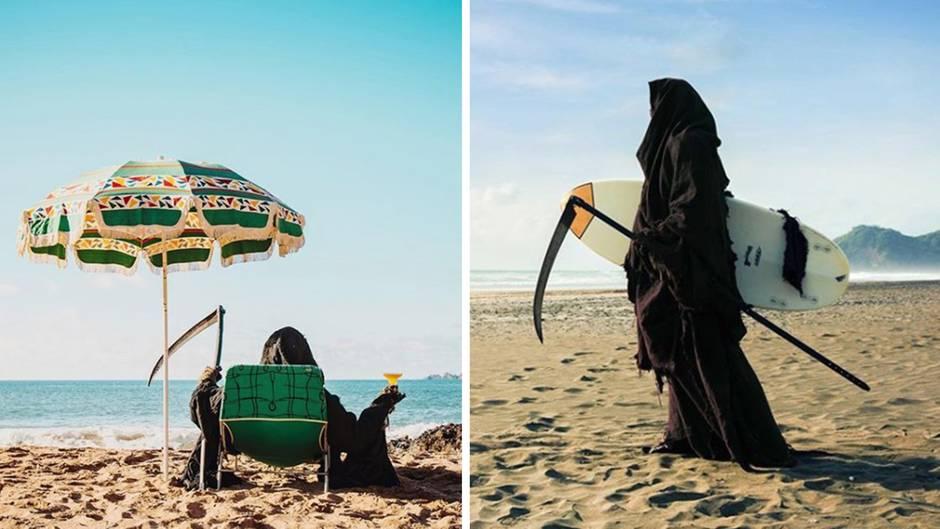 Witziger Instagram-Kanal: Sensenmann am Strand: So sieht es aus, wenn der Tod mal Spaß haben will