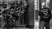 Links: Männer der Sturmbrigade Dirlewanger in Warschau. Rechts: Ordner in Ostritzt.