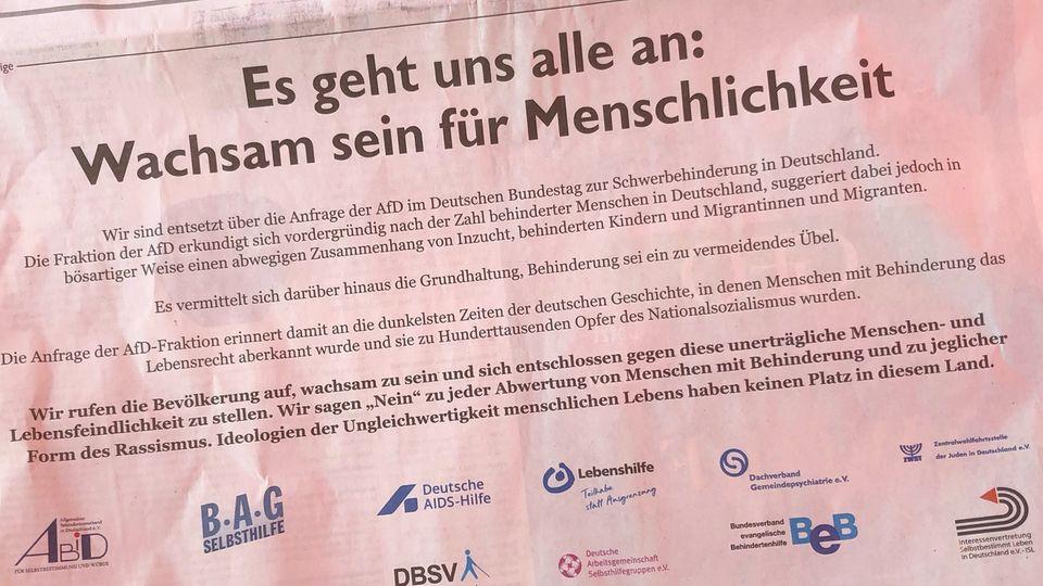Anzeige von 18 Sozialverbänden gegen eine Anfrage der AfD zu Behinderung und Inzest