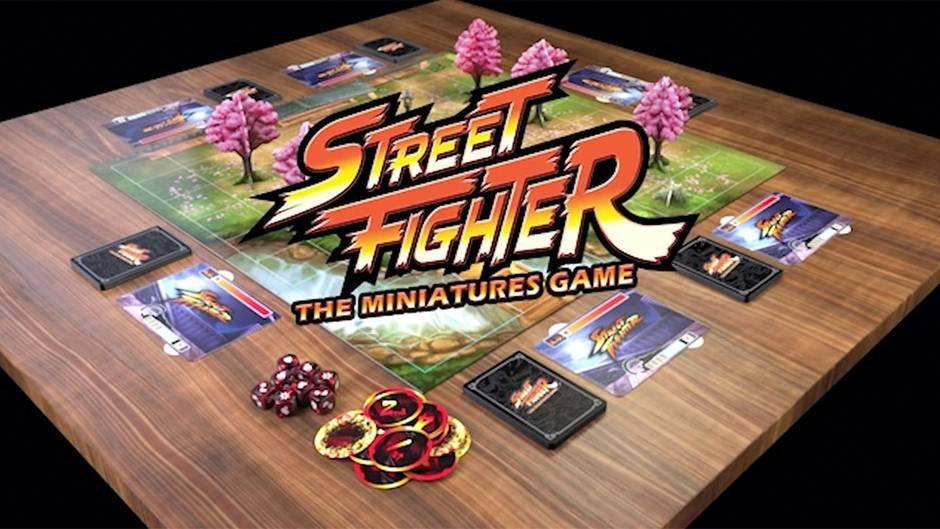"""Videospiel """"Street Fighter"""": Spielbrett aufgebaut auf einem Tisch"""