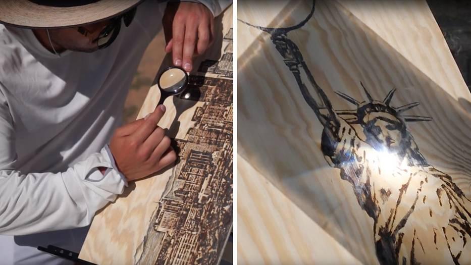 Eine Kombo zeigt links einen Mann, der mit einer Lupe ein Bild ins Holz brennt. Rechts die Freiheitsstatue mit Lupe in der Hand