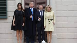 Melania und Donald Trump posieren mit Emmanuel Macron und dessen Frau Brigitte