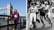 Die Marathon-Läuferin Kathrine Switzer einmal 1967 und 2018