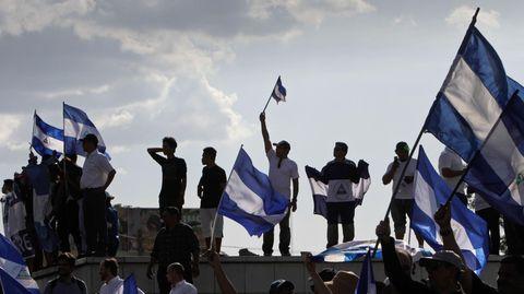 Menschen demonstrieren in Nicaraguas Hauptstadt Managua