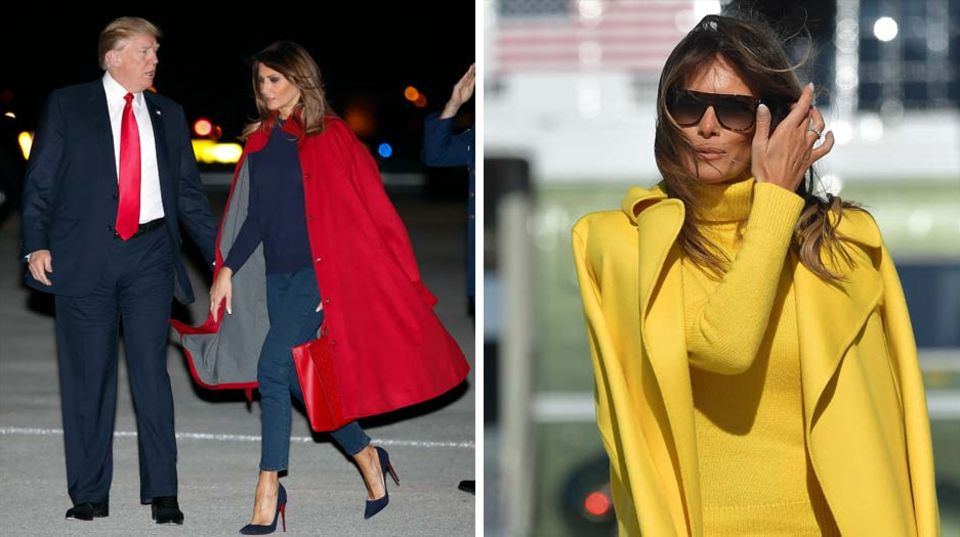 Melania Trump: Ihren Mantel trägt sie meist über der Schulter