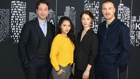"Die ""Bad Banks""-Darsteller Marc Limpach, Mai Duong Kieu, Paula Beer und Albrecht Schuch (v.l.n.r.)"