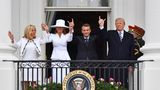 Donald Trump Emmanuel Macron Melania Trump Brigitte Macron Balkon