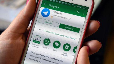 Die russische Telegram-Version auf einem Smartphone in Moskau
