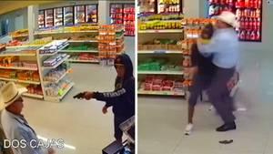 Eine Kombo zeigt einen jungen Mann, der mit Waffe einen Laden überfällt sowie einen Mann im Cowboy-Dress, der mit ihm kämpft