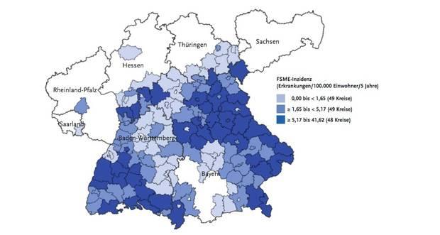 FSME-Risikogebiete in Deutschland (Basis: FSME-Erkrankungen in den Jahren 2002 bis 2016, die dem RKI übermittelt wurden (4.128), Stand: 6. April 2017.  Ein Kreis wird als FSME-Risikogebiet definiert, wenn die Zahl der übermittelten FSME-Erkrankungen in der Region deutlich höher liegt als 1 Erkrankung pro 100.000 Einwohner.