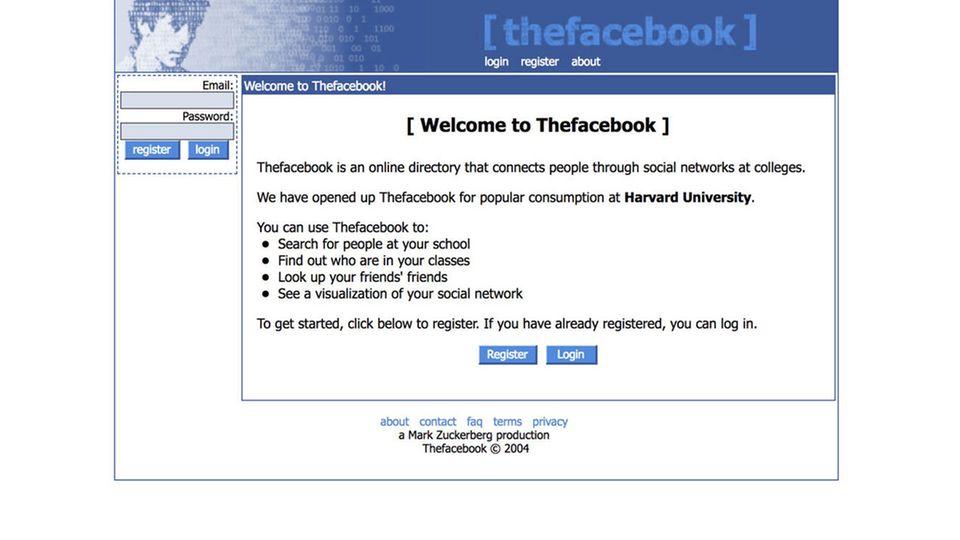 Screenshot von Facebook in 2004