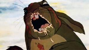 Ein Kaninchen mit blutverschmiertem Mund – eine Szene aus Watership Down.