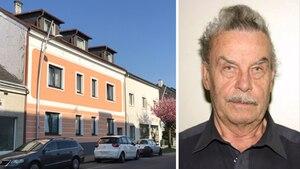 Links: Horror-Haus von Amstetten Rechts: Gesicht von Josef Fritzl