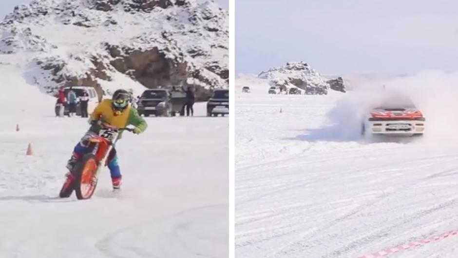 """Motorsport in Sibirien: Rennen auf dem Eis: """"Auf dieser Strecke kann man sich in einer Minute die Beine brechen"""""""
