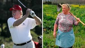 Donald Trump und seine Doppelgängerin Dolores Leis aus Spanien