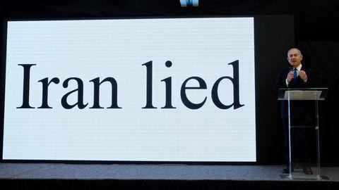 Israels Premier Benjamin Netanjahu bei seiner Präsentation der angeblichen Beweise für das iranische Atomprogramm