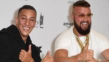 Das Rapper-Duo Kollegah (r.) und Farid Bang kommt zur 27. Verleihung des Deutschen Musikpreises Echo