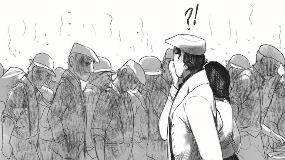 Zeichnung der stinkenden Arbeiter aus den Schlachthöfen