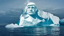 So soll das Projekt umgesetzt aussehen: Das Gesicht von Donald Trump in einen Eisberg gemeißelt