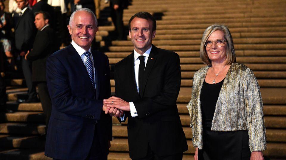Emmanuel Macron mit Malcolm und  Lucy Turnbull