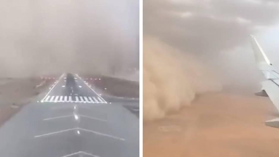 Panik im Flugzeug: Passagiere entkommen riesigem Sandsturm nur ganz knapp