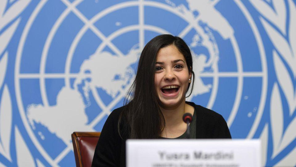Große Bühne: Mardini spricht in der Europa-Zentrale der Vereinten Nationen in Genf