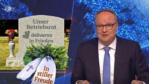 """Ruhe in Frieden: Der Betriebsrat von Deliveroo in Köln. """"Millionen Deutsche werden um den Mindestlohn beschissen"""", so lautete eines der Themen der """"heute Show"""" am 3. Mai 2018."""