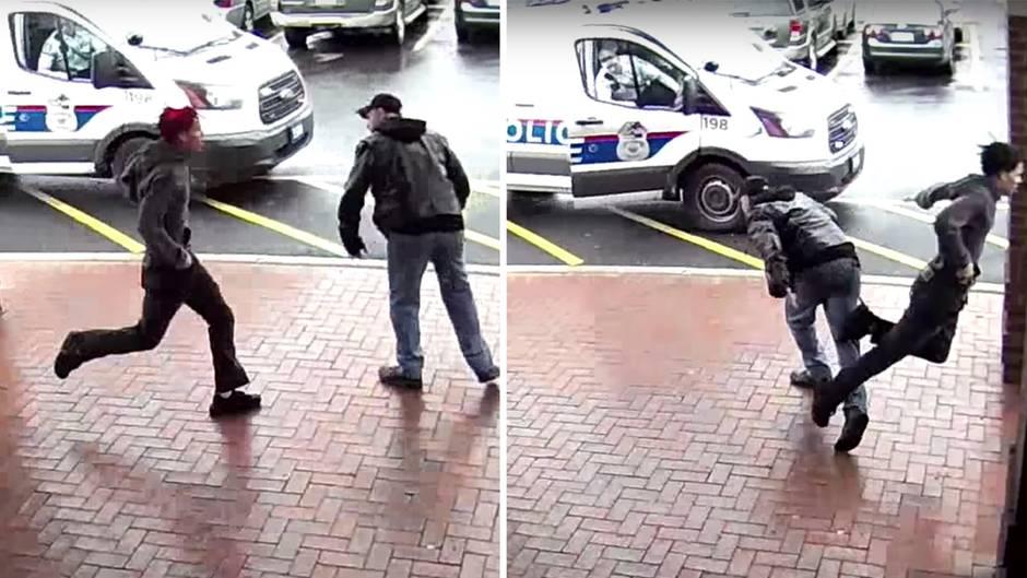 Verfolgungsjagd beendet: Älterer Herr mit Gehstock schickt bewaffneten Gangster zu Boden
