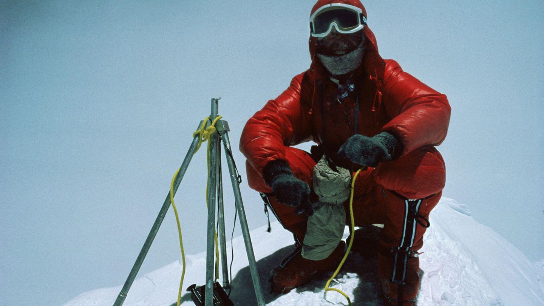 Reinhold Messner auf dem Gipfel des Mount Everest im Jahr 1978