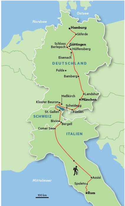 Die Route  Mal lief Hauser ein bisschen kreuz und quer. Die grobe Richtung aber war: Süden. Von Hamburg über Göttingen, Bamberg und München an den Bodensee. Dann über den Septimerpass, am Comer See entlang und durch den Norden Italiens in die Ewige Stadt