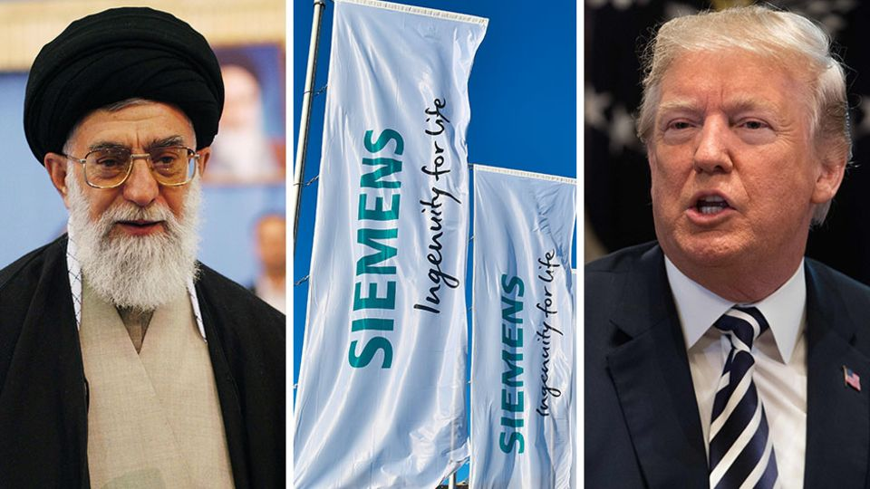 Deutsche Unternehmen wie Siemens bekommen die neuen Sanktionen von US-Präsident Donald Trump (r.) gegen den Iran unterAjatollah Ali Chamenei (l.) zu spüren