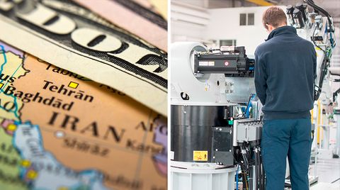 Eine Bildkombo zeigt links eine Karte des Iran mit der Hauptstadt Teheran und rechts eine Ingenieur, der eine Maschine bedient