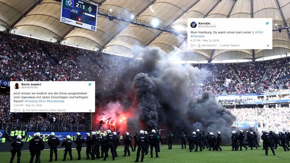 """Twitter-Reaktionen: Fan-Randale bei HSV-Abstieg: """"Jetzt wissen wir, wie die Dinos ausgestorben sind"""""""