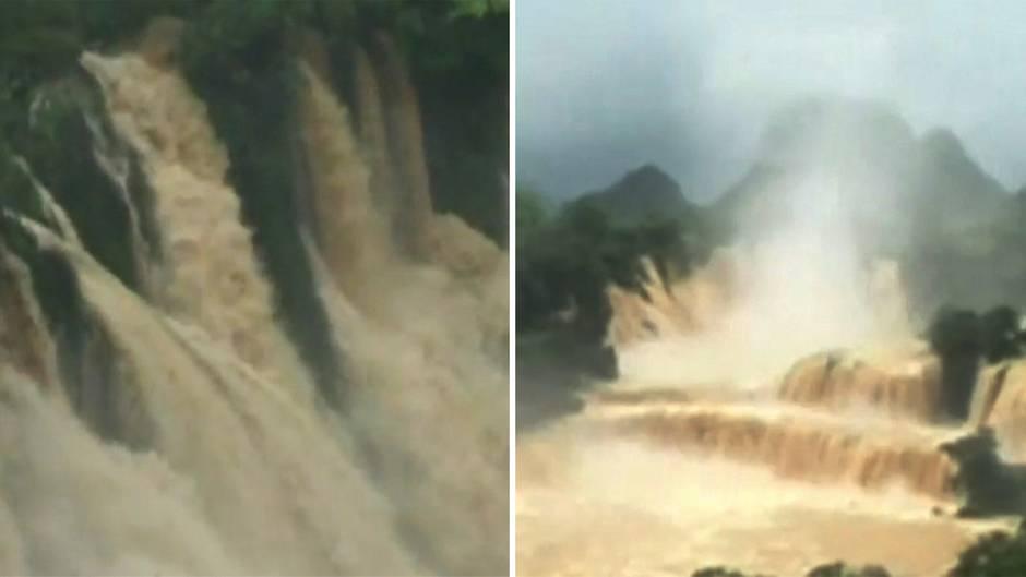 """Asien: """"Überlaufende"""" Wasserfälle – starker Regen sorgt für Naturspektakel"""