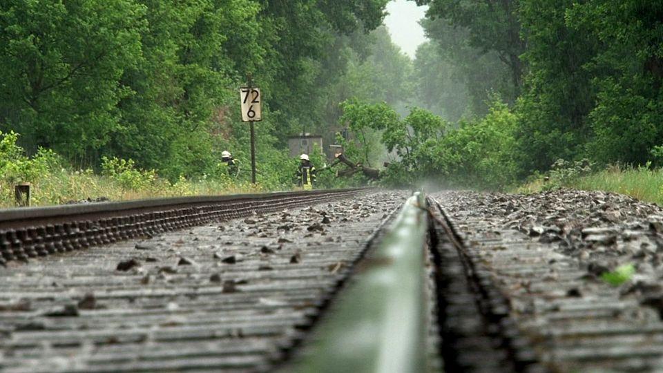 Einsatzkräfte der Feuerwehr Osnabrück entfernen umgestürzte Bäume von Bahngleisen