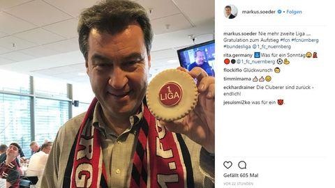 Markus Söder feiert mit dem Club