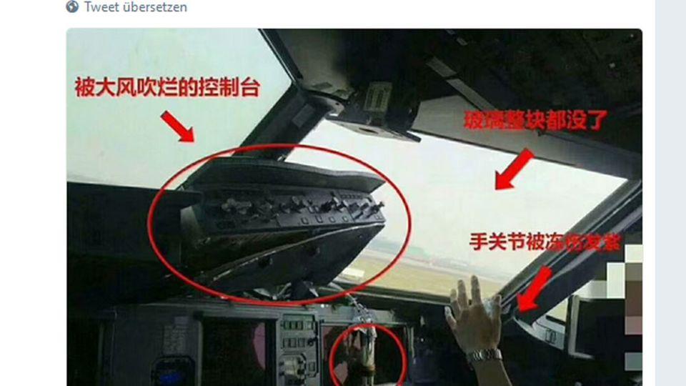 Das Cockpit des beschädigten >Airbus A319 von Sichuan Airlines