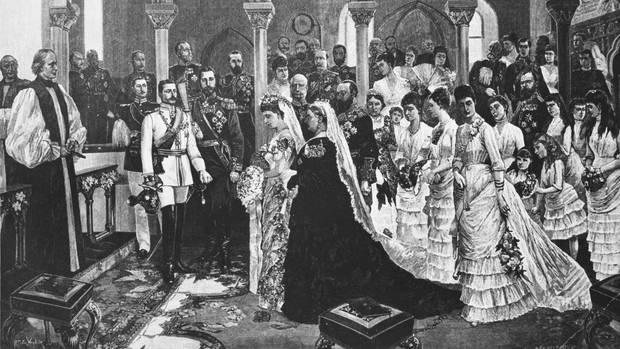 Queen Victoria bei der Hochzeit ihrer jüngsten Tochter Prinzessin Beatrice