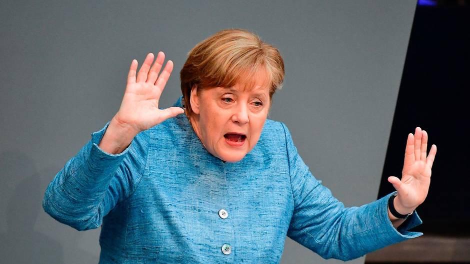 So verteidigt Bundeskanzlerin Angela Merkel den Kurs der Regierung - nicht jedem schmeckt das