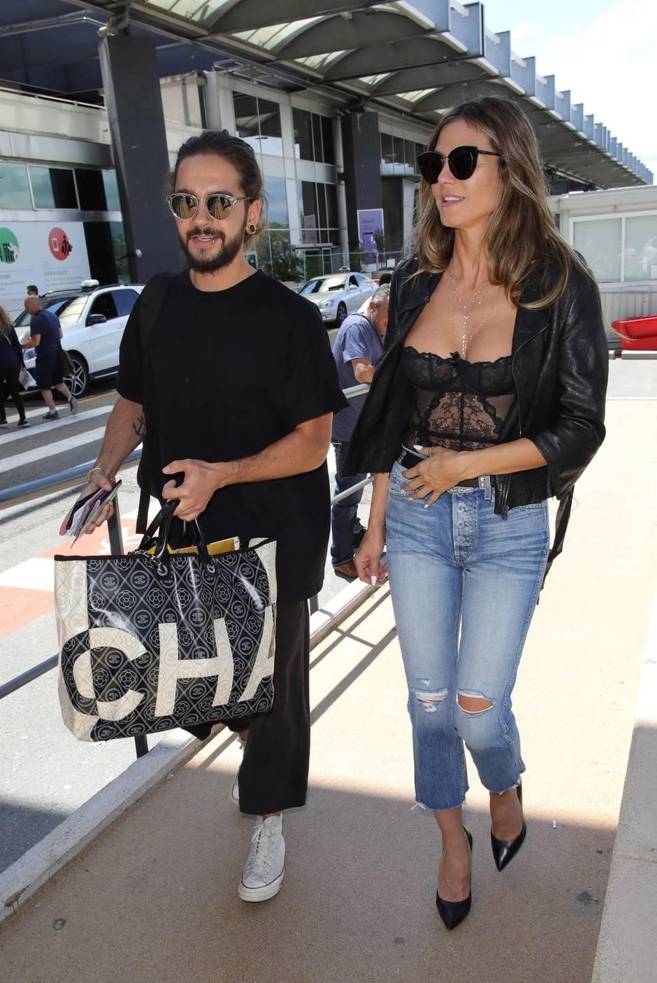 Heidi Klum und Tom Kaulitz bei ihrer Ankunft in Nizza