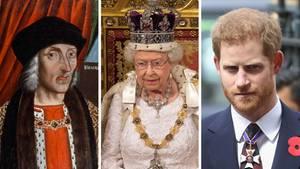 Eine Bildkombo zeigt Heinrich VII. Tudor, Queen Elizabeth II. und ihren Enkel Prinz Harry